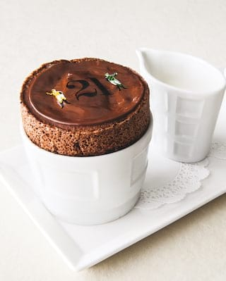 Chocolate souffle, 21 club offer