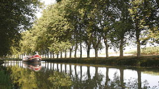 River barge gliding along a canal lined by poplar trees reflected in the water