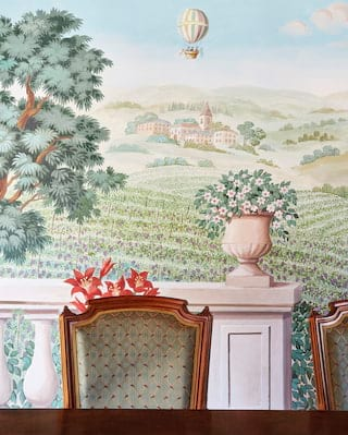 Mahogany chair against the backdrop of a 'Trompe L'oeil' mural of a vineyard