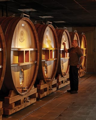 Vast champagne barrels in a row in a low lit champagne cellar