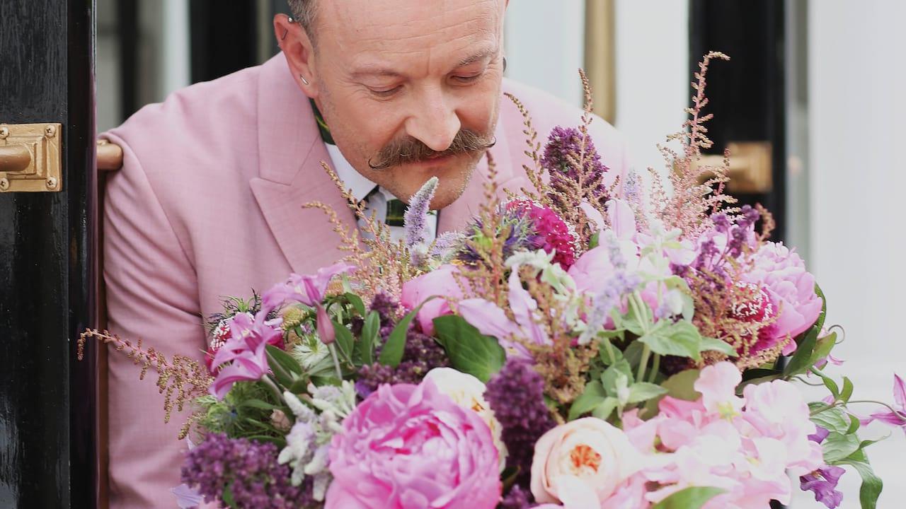 Simon Lycett among flowers