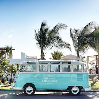 Light-blue VW camper van against sunny blue-skies and palm trees