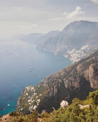 Aerial view of the Amalfi Coast from a high cliff