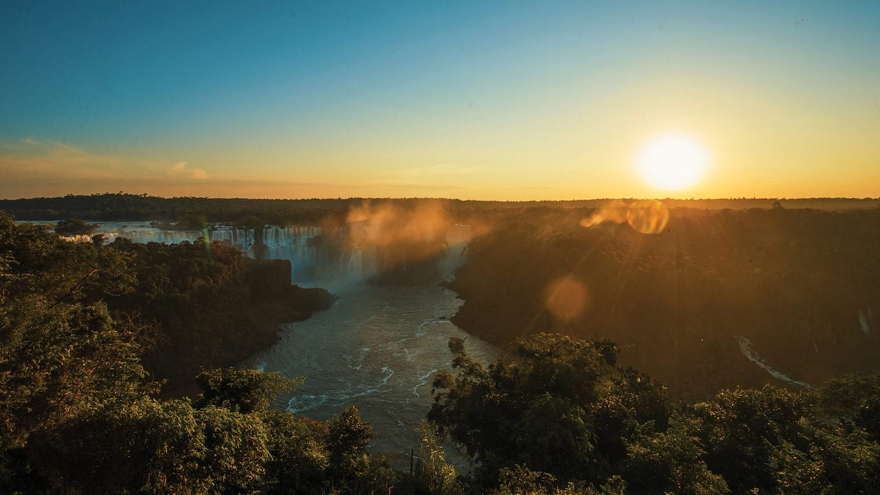 First light over the Iguassu falls and rainforest