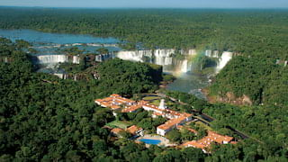 Aerial view of Hotel das Cataratas among jungles by the Iguassu Falls