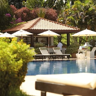 Hotel pool bar surrounded by sunbeds, parasols and tropical trees