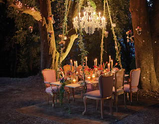 Table setting for private party in Tuscany