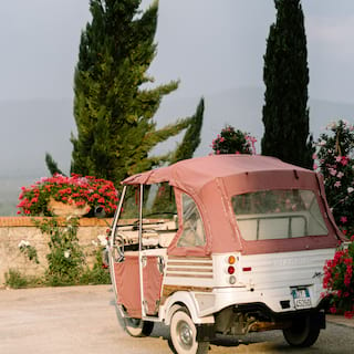 A salmon coloured soft-top tuk-tuk parked on a patio surrounded by flowers