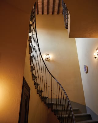 Mustard yellow stairway with steps and a wrought-iron banister curling upwards