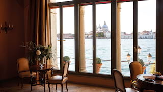 View through ornate arched windows of the Basilica di Santa Maria della Salute