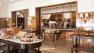 Abundant breakfast buffet in a modern and elegantly decorated restaurant