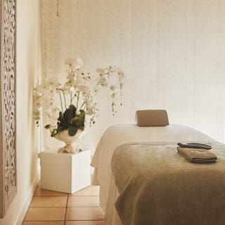 Spa massage table next to an ornate potted orchid plant