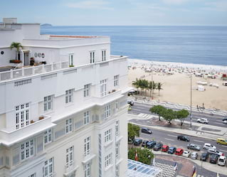 view from copacabana palace of street and beach