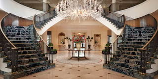 the lobby at belmond charleston place hotel