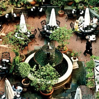 Aerial view of the Palmetto Cafe's leafy courtyard and fountain