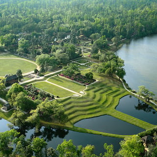 Aerial view of extensive manicured plantation gardens
