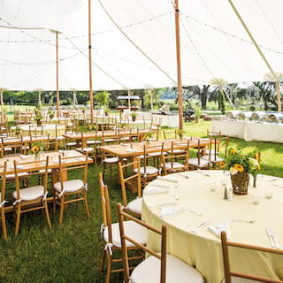 Wedding marquee set for large wedding with sunflower table centres