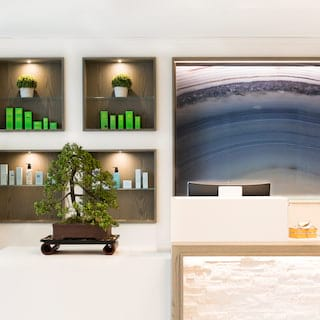 Close-up of spa reception desk, including decorative bonsai and spa products