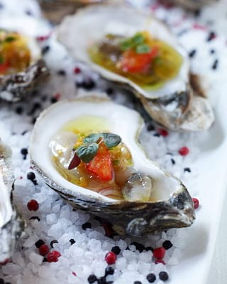 Chilled oyster on a bed of ice