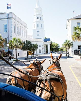 Two horses drawing a carriage in Charleston's historic quarter