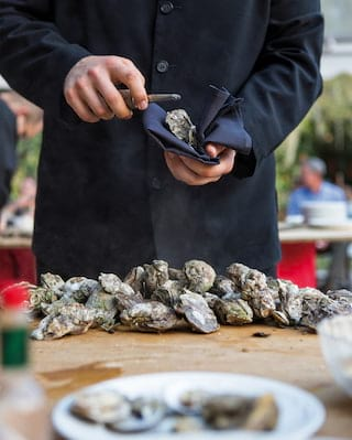 Oysters being shucked
