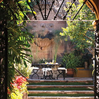 View through an arched ironwork gate of a leafy courtyard beyond