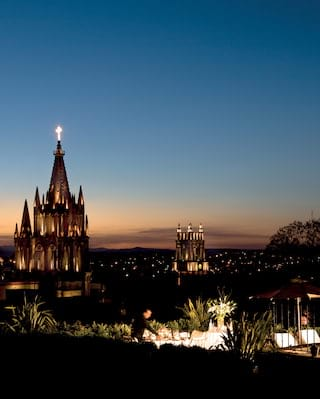 The skyline of San Miguel de Allende at sunset