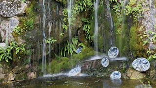 Close-up of a garden waterfall and pond surrounded by moss and lichen