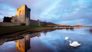 Two swans gliding on a moat around a medieval stone castle at sunset