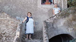 Two smiling ladies in white aprons standing on stone steps