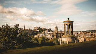 View from Calton Hill of Edinburgh including the Dugald Stewart monument