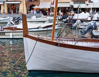 boat in ligurian sea near portofino