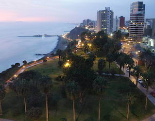 Aerial view of the Pacific Ocean and the Miraflores District, Lima, Peru