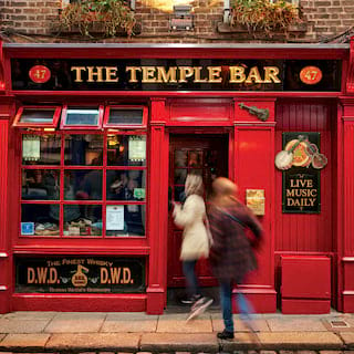 The red gleaming exterior of Dublin's 'Temple Bar'