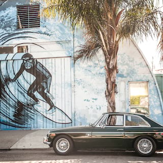Classic car parked beside a palm tree and wall mural of a surfing monkey