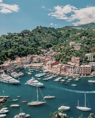 Luftaufnahme des Hafens von Portofino