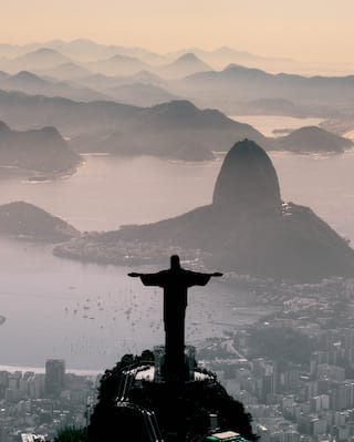Aerial view of Rio's iconic 'Christ the Redeemer' statue at dusk