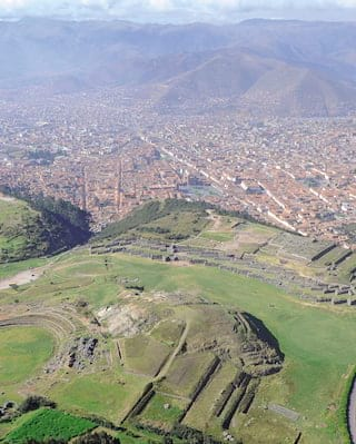 Aerial view of Sacsayhuamán outside Cusco city