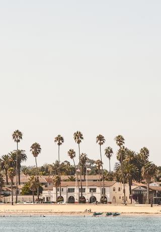 Palmeras y tiendas que bordean la costa de Santa Barbara