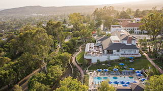 Aerial view of a luxury hotel in Santa Barbara hills, including pool area