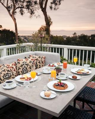 Restaurant balcony breakfast setting