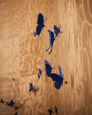 Close-up view of blue decorative butterflies pinned to a patterned wall
