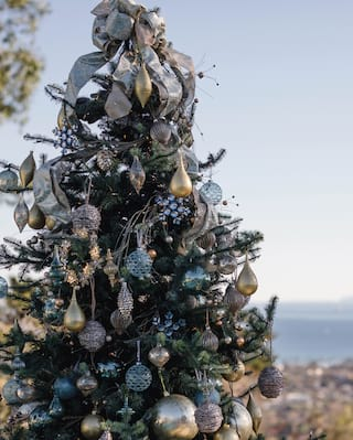 Christmas tree with a silver theme on a hill overlooking Santa Barbara