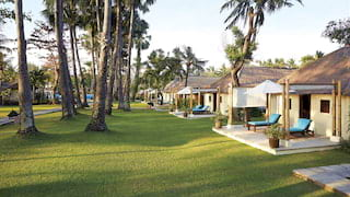 Rows of thatched canary-yellow bungalows among manicured lawns dotted with palms