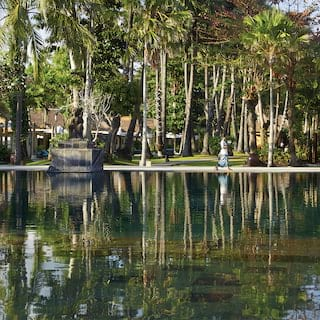 Vast, mirror-still freshwater pool with palm trees reflected in the surface