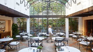 Restaurant with a glass apex ceiling and glass walls surrounded by lush foliage