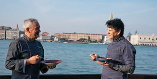 chefs standing in front of venice lagoon