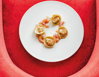 Basil and Pecorino tortelli with prawns and tomato