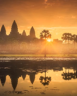 Sunrise above Cambodian temples
