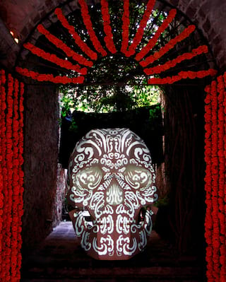 Calavera skull during Day of the Dead celebrations in Mexico